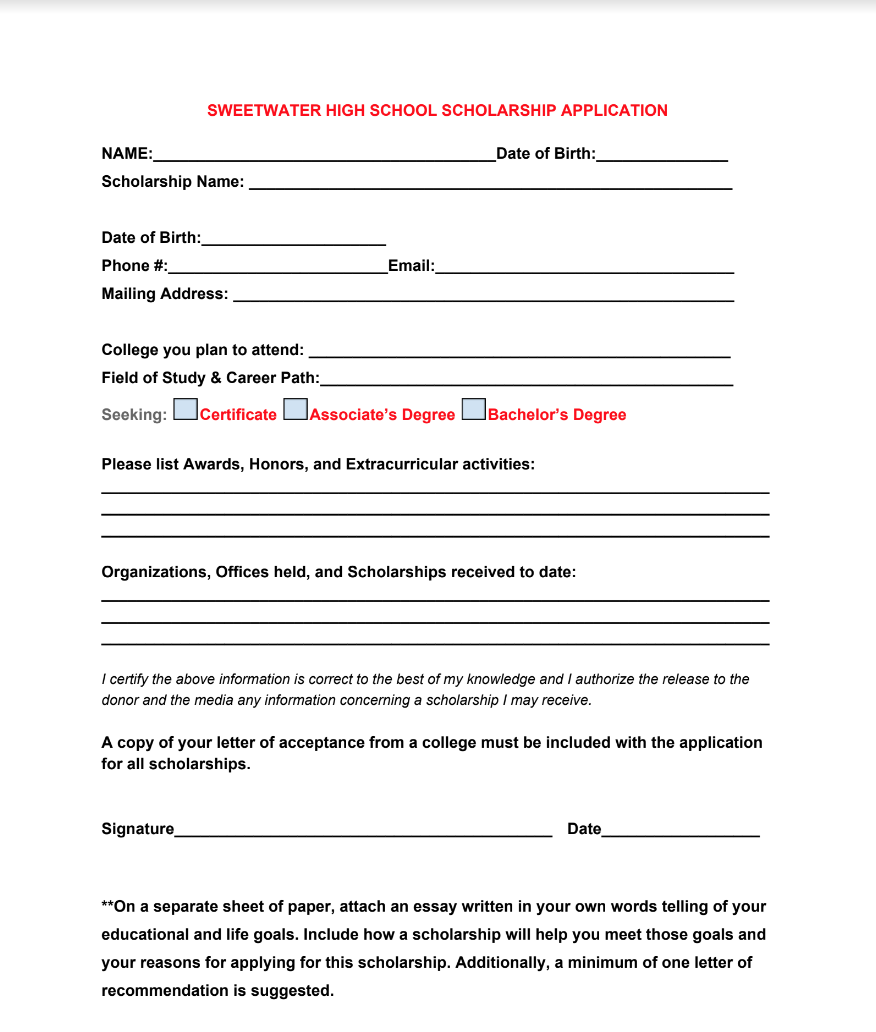 Local SHS Scholarship Application Image