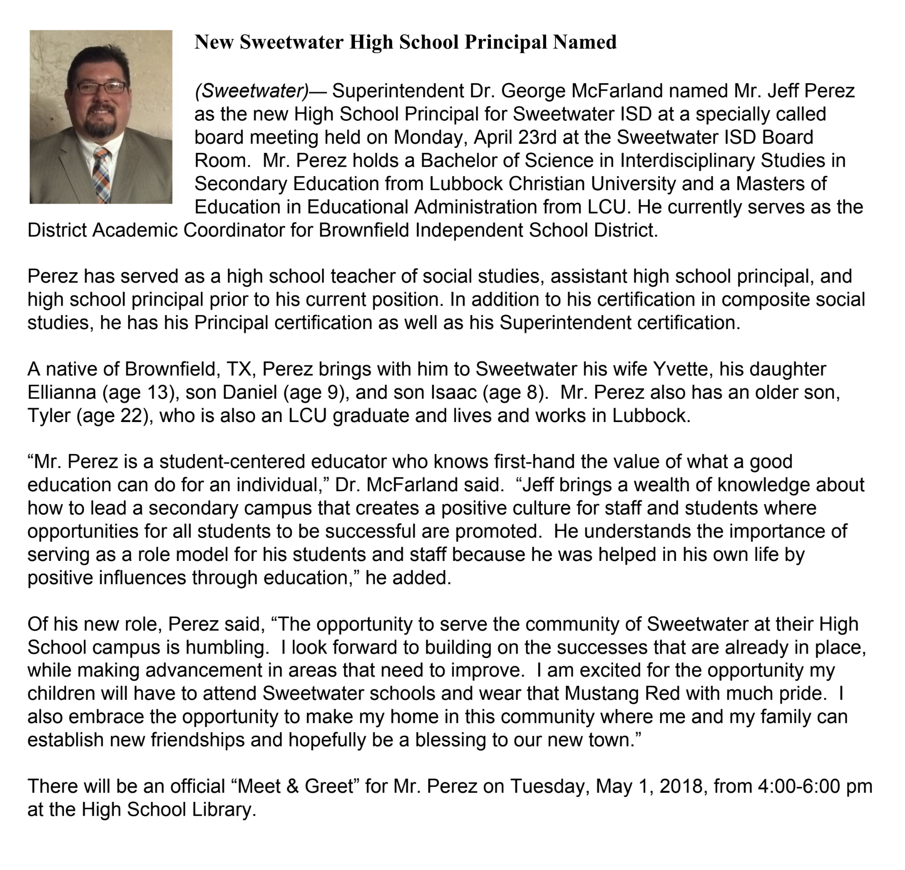 Mr Jeff Perez Named New Sweetwater High School Principal For 2018