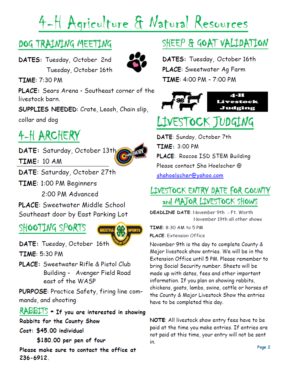 Nolan County 4-H Newsletter October 2018 P2.png