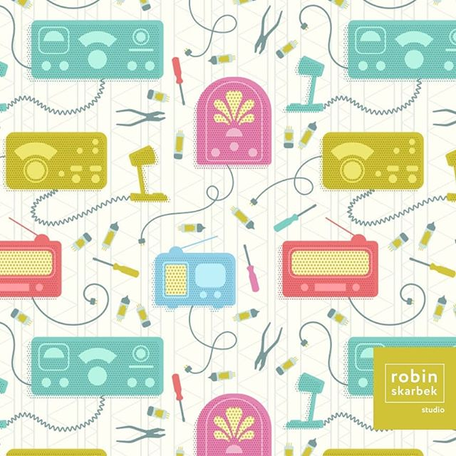 "Spoonflower's design challenge theme this week is 1950s. My pattern was inspired by my grandfather and my father's love for Ham radio. Check out ""Hank & Teddy's Radio Repair Shop"" and vote by following the link in my bio. Thank you! 📻🔧 . . . . #spoonflower #surfacepattern #surfacepatterndesign #patternobserver #design #radio #hamradio #fabric #illustration #sewing #retro #1950s #vacuumtubes #tubes #tools #robinskarbekstudio"
