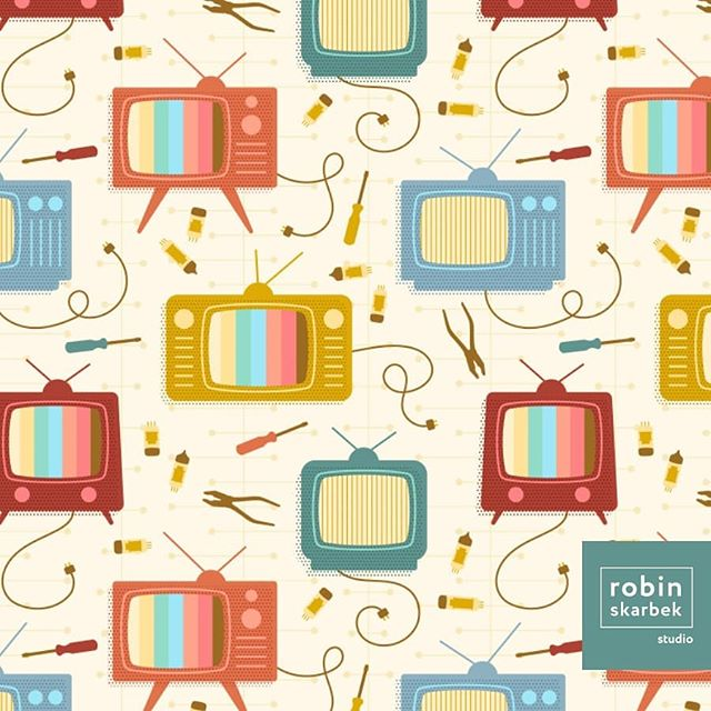 "This week's Spoonflower design challenge theme is 1960s. I continued with the inspiration from last week, but went with TVs this week! You can take a look at ""Hank & Teddy's TV Repair Shop"" and vote by following the link in my bio. Thank you! 📺🔧 . . . . . #surfacepattern #surfacepatterndesign #design #illustration #cute #nerdy #patternobserver #spoonflower #sewing #quilting #handmade #robinskarbekstudio #retro #1960s #vintage #television #tv #workshop #electrical #repair #vacuumtubes #tubes"