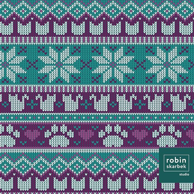 My entry for this week's Spoonflower design challenge is Fair Isle Felines. I love snuggling up in a warm fuzzy sweater with my warm fuzzy kitties during the winter season! Please take a minute to vote by following the link in my bio! 😺☕❄️🐾 . . . . #surfacepattern #surfacepatterndesign #design #illustration #cute #nerdy #patternobserver #spoonflower #sewing #quilting #handmade #robinskarbekstudio #fairisle #fairislesweater #winter #cats #kittens #meow #knitwear #knit #sweater #pawprint