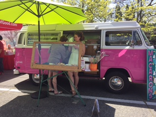 I love Macarons! - Fremont Farmers Market - That's Alexandra the owner standing in front of her 1973 Volkswagen Bus. It's cool that she asks me about updates on my breast cancer.