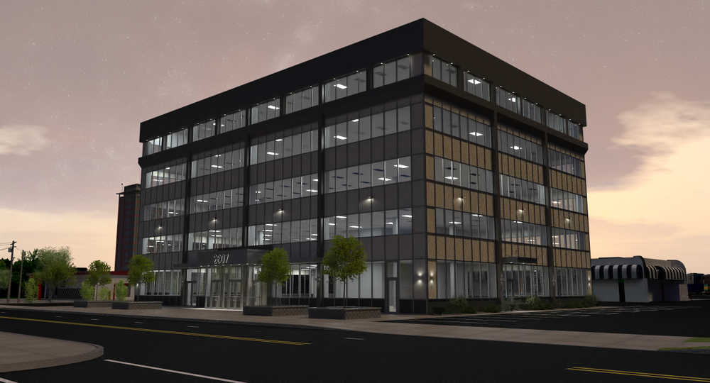 Proposed Office Building Facade Renovation - Night