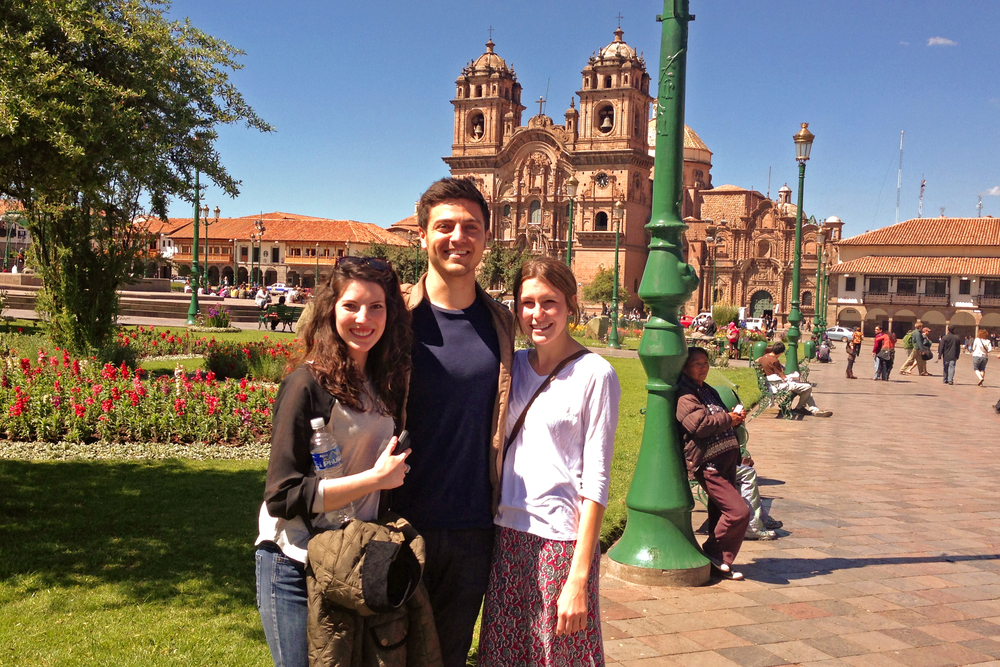 The first day Alex Bozzette, our Ecuador Project Coordinator, arrived in Cusco. Kristin Bratton, our co-investigator, and Lauren Braun, our founder, show a jetlagged but good-spirited Alex around the city. Photo taken: May 23, 2013.