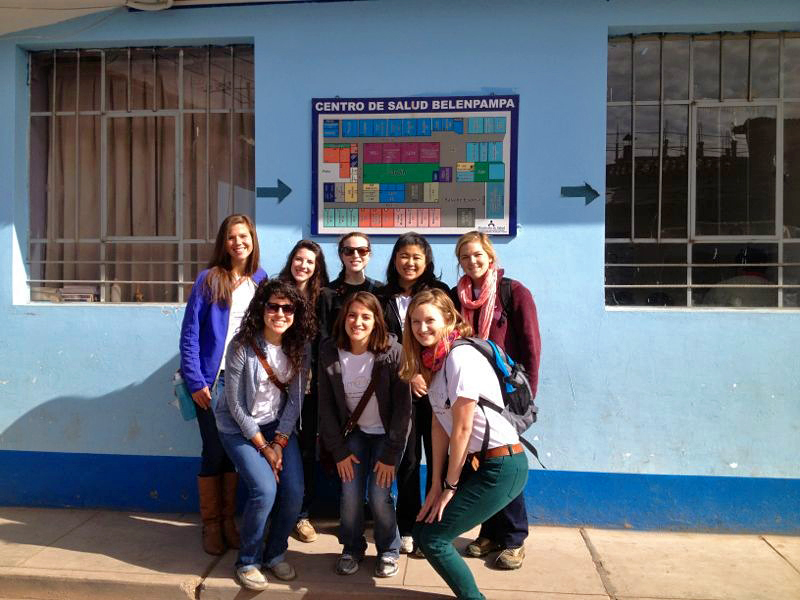 Before enrollment, our team visited both of the Cusco clinics we're working at to introduce ourselves to the nurses. Back row: Jenny Poliwka (intern), Lauren Braun (founder and President), Jenny Nepom (Peru Project Coordinator), Joanie Kim (summer intern), Amy Scheel (summer intern). Front row: Vanessa Rivera (summer intern), Dani Corona (summer intern), Anca Dogariou (summer intern). Photo taken: May 24, 2013.