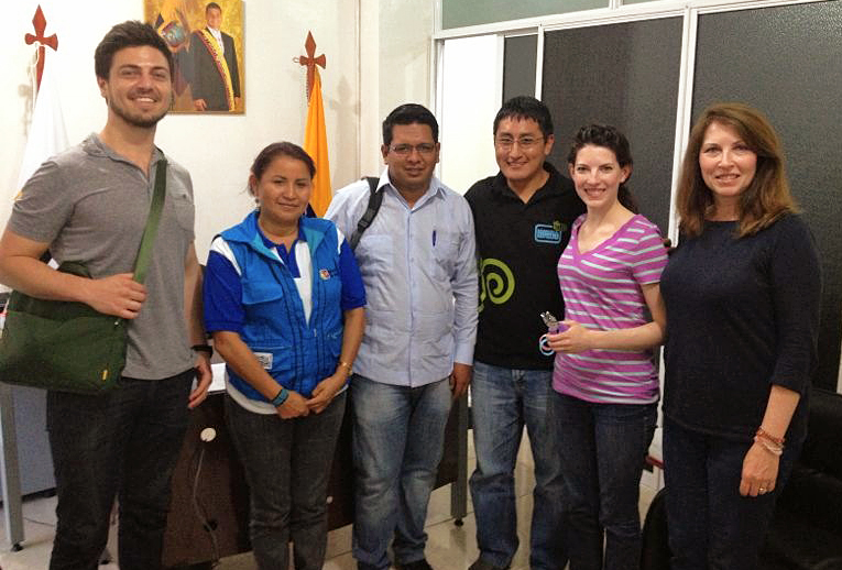 A photo after our first official meeting with the regional Ecuadorian Ministry of Public Health last week! They expressed their enthusiasm for partnering with Alma Sana to implement our vaccine bracelet pilot in their rural clinics, which we'll choose this week after some more on-site visits. Next week, we begin training MOH nurses for enrollment!  From left to right, Alex Bozzette (Ecuador Project Coordinator), Dr. Rosa Alvarado (Director of Tena MOH), Dr. Edy Quizphe (Regional Director of Napo Valley Zona-2 MOH), Dr. Edwin Morocho, Lauren Braun (AS's founder and president), and Trish Braun (AS's vice president & grants administrator). Photo taken: June 12, 2013.