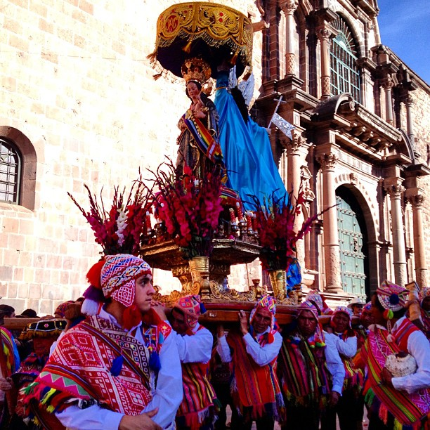 "danicoronaphotography :     The celebration of Corpus Christi in #Cusco! During this festival 15 saints and virgins, organized in several processions, come from different districts to the main cathedral to ""meet"" the body of Christ."