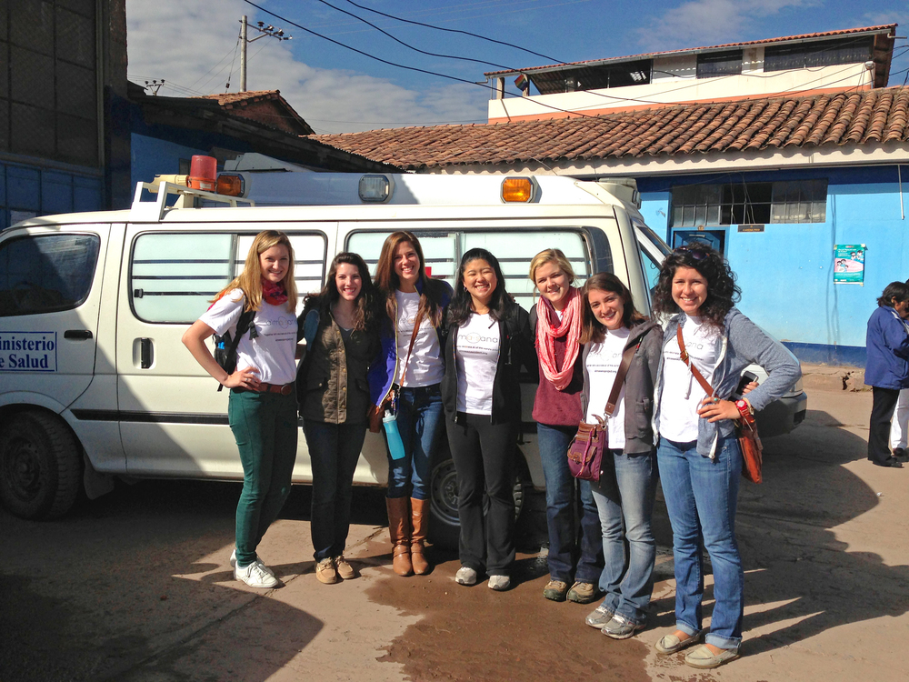 Lauren Braun, our founder, (second from left) with our summer interns at the Belenpampa clinic. Photo taken: May 24, 2013.