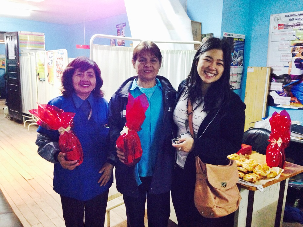 Joanie with Maria and Flor, the amazing child vaccination nurses! Photo taken: Dec. 3.
