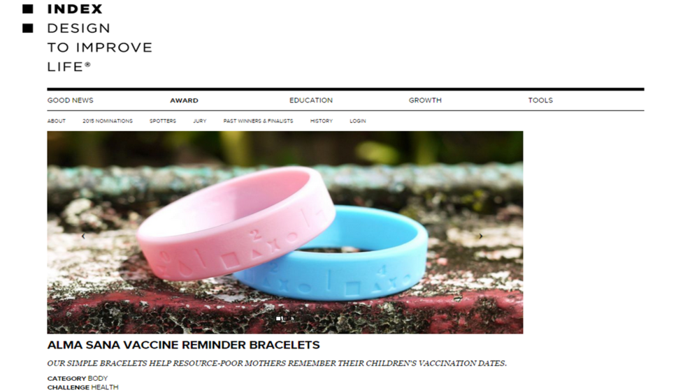 We're proud to share that our vaccine bracelets have been nominated for the    ‪#‎  INDEXAward2015‬    by   INDEX: Design to Improve Life  , the biggest and most prestigious design award in the world! Photo published: January 7, 2015.