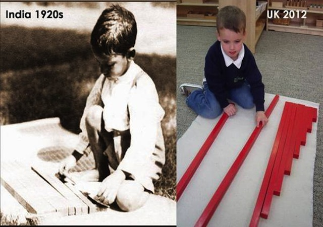 """The timelessness of Montessori materials"". Picture is courtesy Lincolnshire Montessori, used by permission."