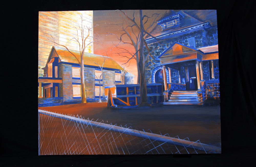 "Dinkytown: Dichotomy in Blue and Orange   acrylic on canvas  2012  24"" x 30"""