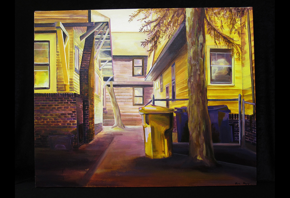 "Dinkytown: Dichotomy in Yellow and Violet   acrylic on canvas  2012  24"" x 30"""