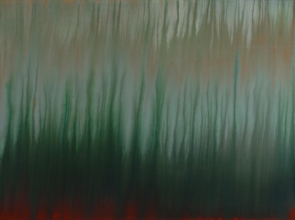 "untitled no. 2 (Mississippi red and green)   acrylic and latex on canvas  36"" x 48"" (SOLD)"