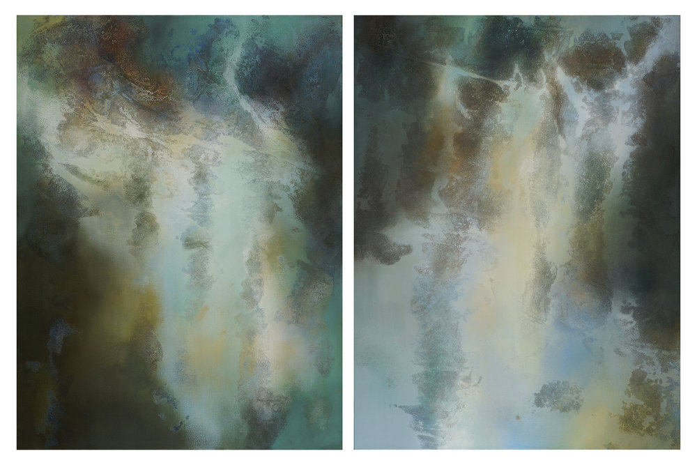"Tension Falls; acrylic, collected St. Anthony Falls water and sediment on canvas; 48"" x 36"" each (diptych); 2017 Currently on-exhibit at By the Waters at The Woman's Club of Minneapolis."