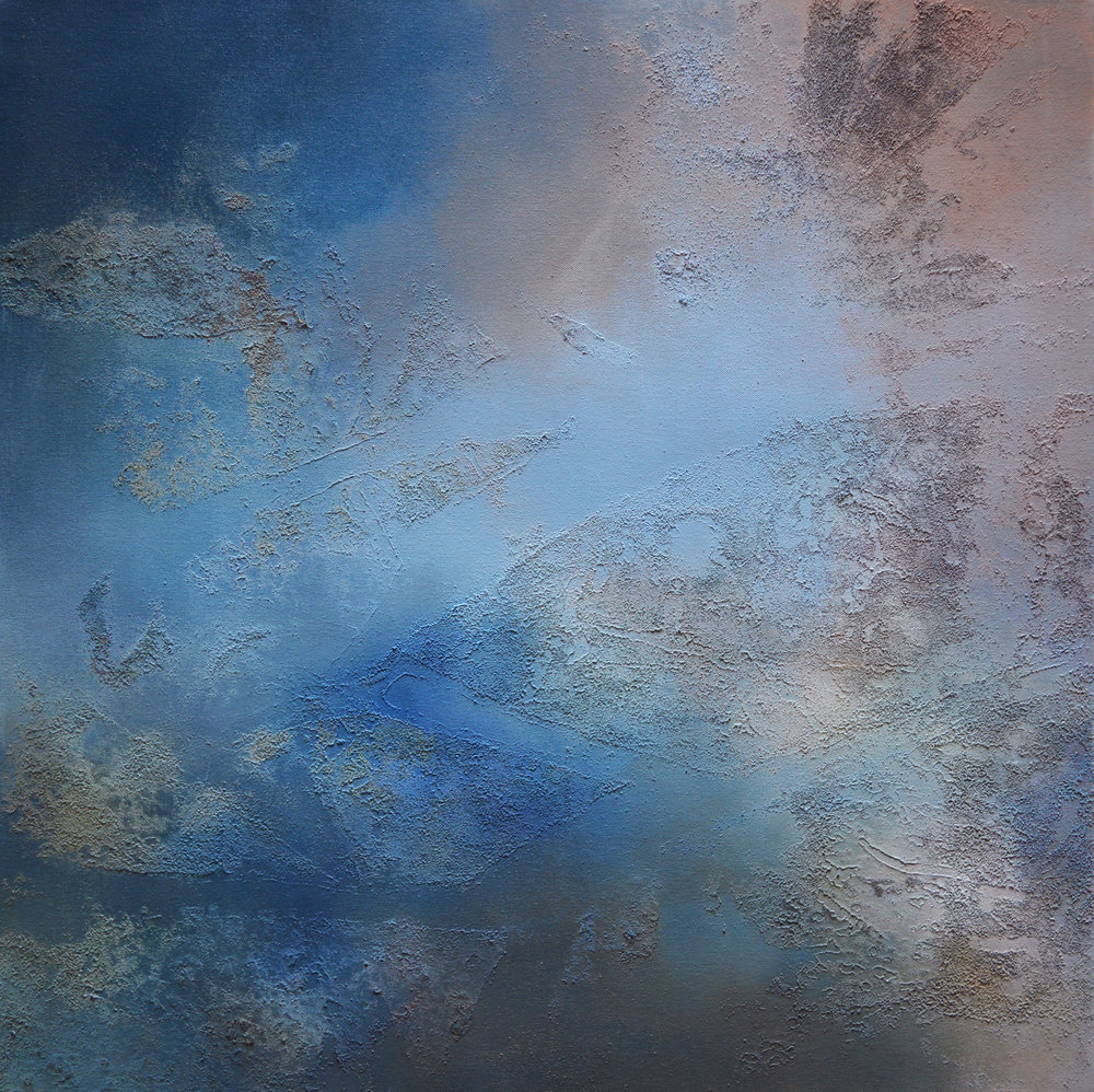 "Confluencing No. 2   acrylic, collected Mississippi River water and sediment on canvas  30"" x 30""  2018"