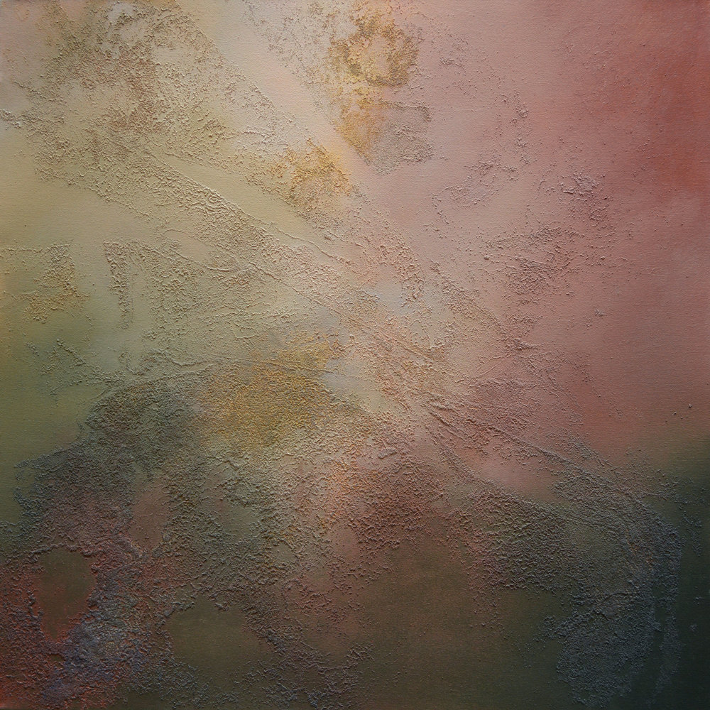 "Concurrent No. 1   acrylic, collected Minnesota and Mississippi River water and sediment on canvas  30"" x 30"""