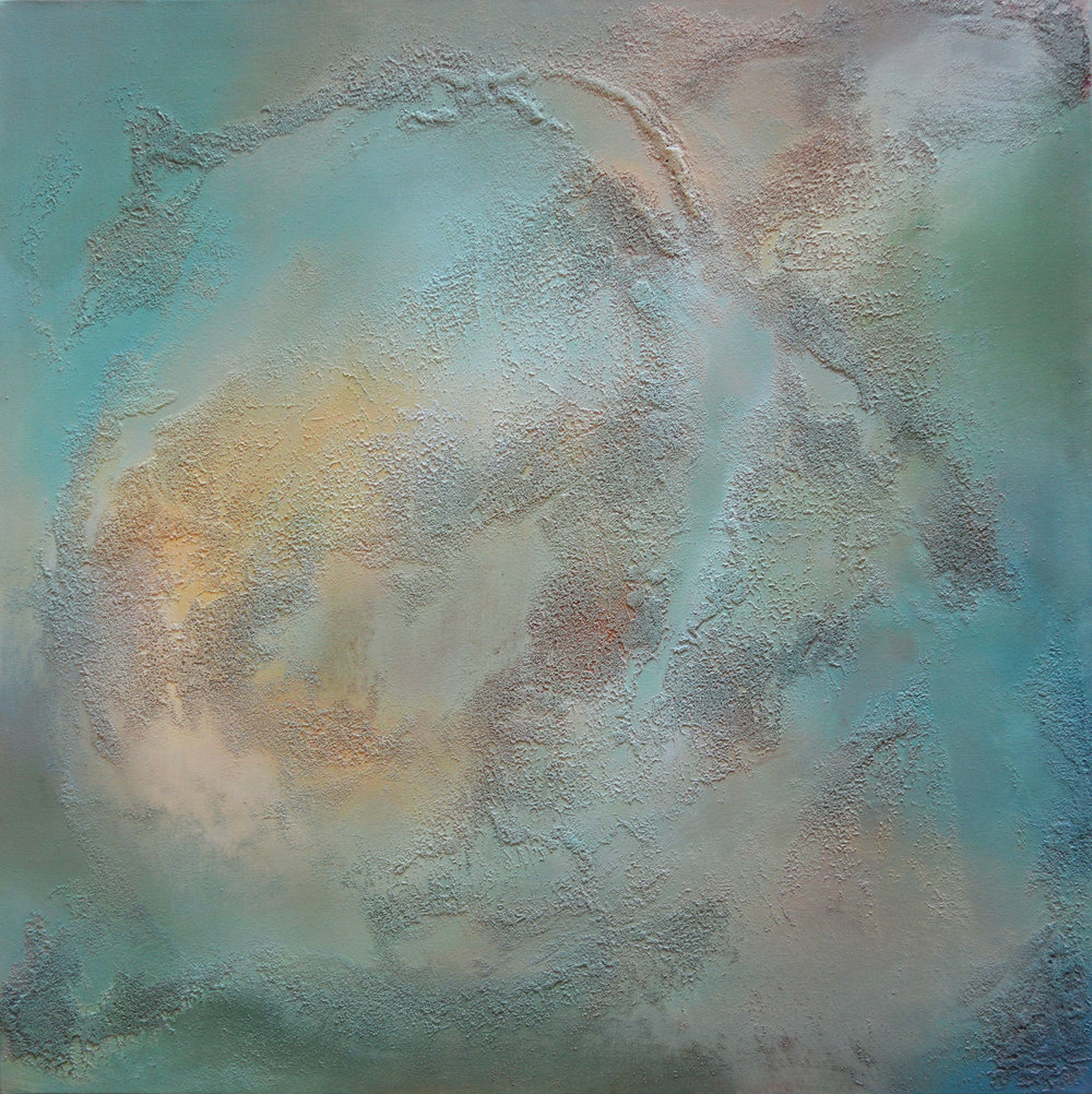 "Pike Island Cycle   acrylic, collected Minnesota River water and sediment on canvas  36"" x 36""  2018"