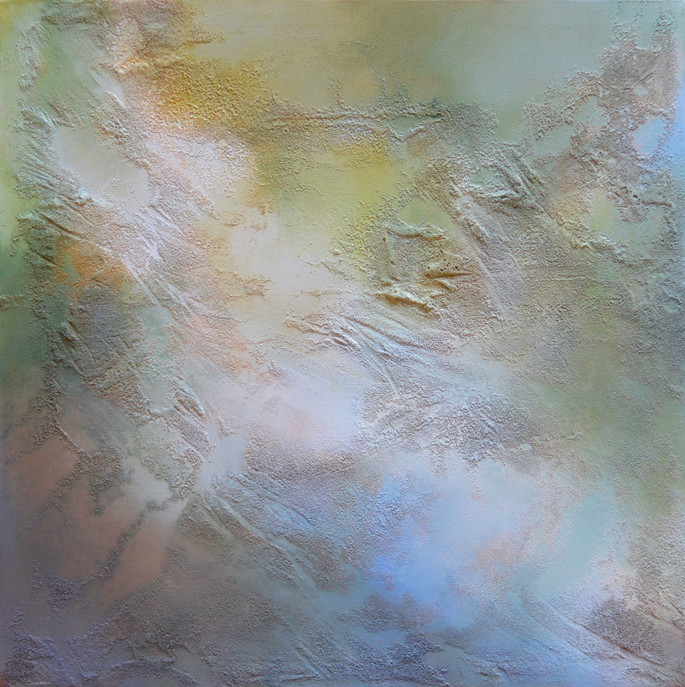 "Pike Island Fluidity   acrylic, collected Mississippi River water and sediment on canvas  36"" x 36""  2018 (SOLD)"
