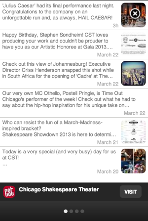 Screenshot: An expansion of a mobile ad banner that shows the most recent 20 Facebook posts.