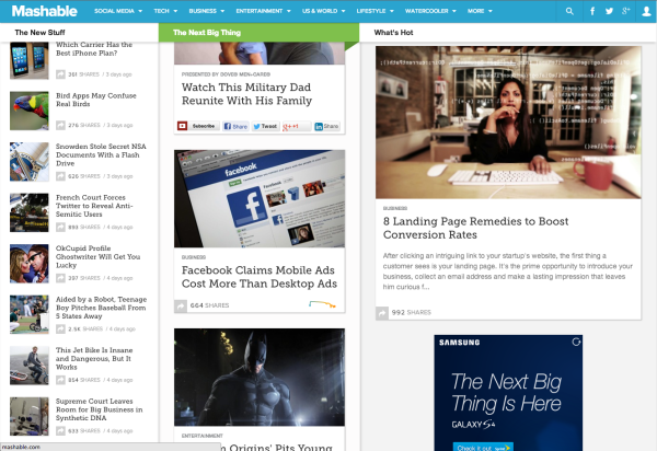 Mashable uses a masonry layout, which reflows items based on the size of the content and viewport.