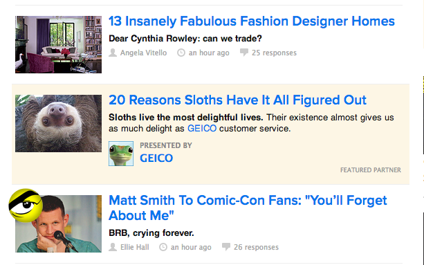 Native advertising presented by Geico on Buzzfeed.com