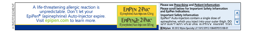 EpiPen is an important, life-saving product, but the dense text on this ad can make it hard to look at. (Source: everydayhealth.com)
