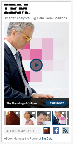 An IBM content ad featuring a video gallery as seen on AdAge.