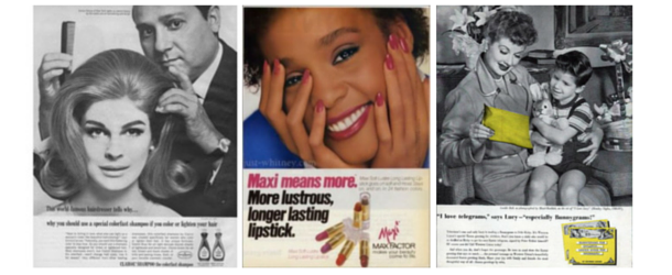 The celebrity endorsement is decades-old. From left to right: candice bergen, whitney houston, lucille ball