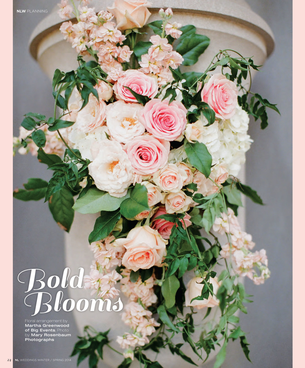 "This lovely outdoor church spray, designed by Big Events, was featured as a ""Bold Bloom"" in the 2014 Nashville Lifestyles Wedding magazine!"