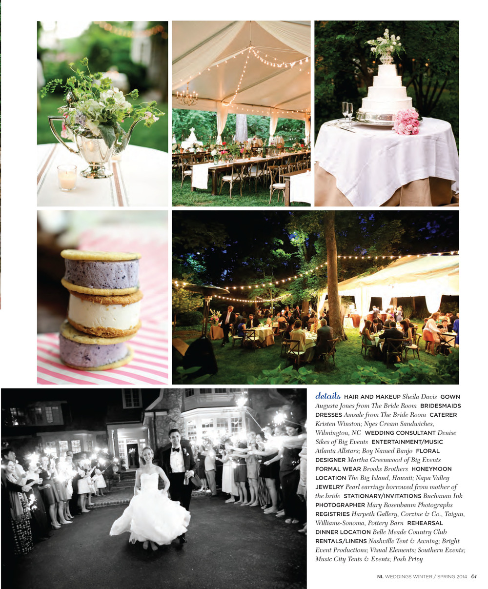 One of our lovely couples had their big day featured  in the 2014 Nashville Lifestyles Wedding magazine.     What an honor!