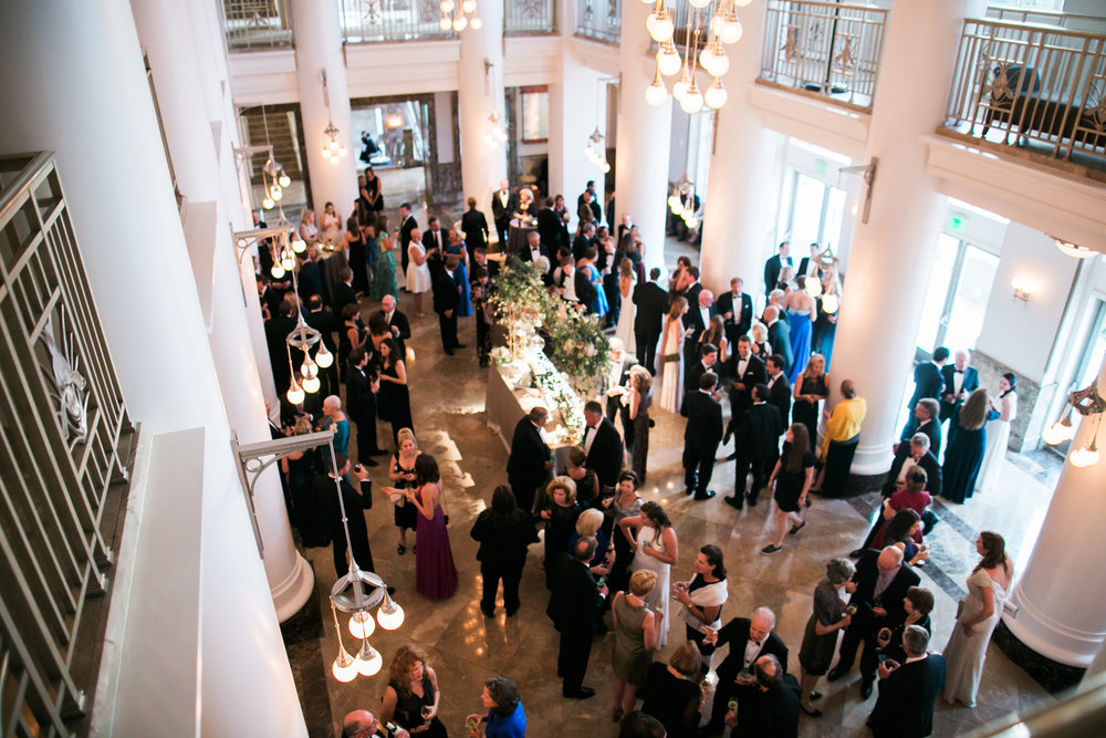 A view from the balcony of the Brown wedding reception at Schermerhorn Symphony Center in downtown Nashville, TN. Wedding planning & design by Big Events Wedding.