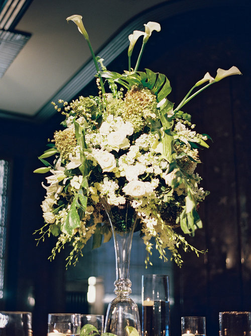 Floral arrangements designed and provided by Big Events Wedding for this lavish wedding at the Frist Center for the Visual Arts.