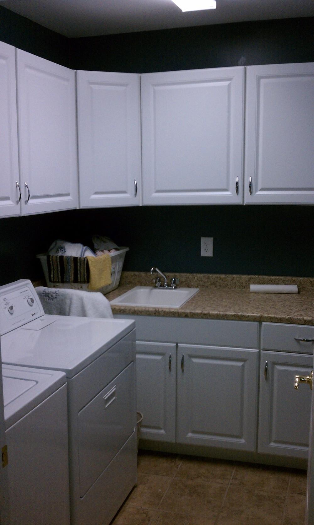 White Oak Laundry Room Cabinets