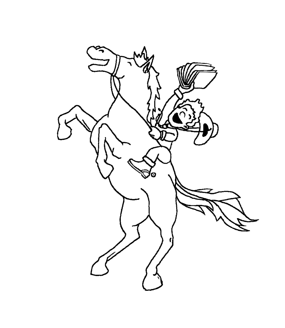 Final sketch of kid on the horse.