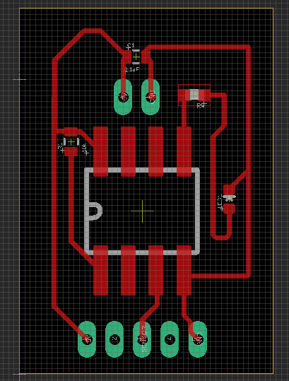 2_attiny85_LED - For some reason wanted to do a vertical design, not sure why. This was a little smaller, but the routes are kind of crazy… made a mental note here to have cleaner more sensible routes for the final design schematic.
