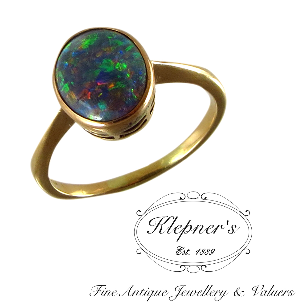 Vintage Black Solid Opal Ring