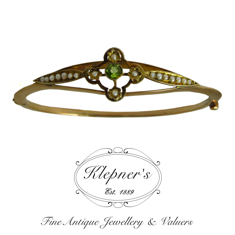 Antique Peridot Hinge Bangle