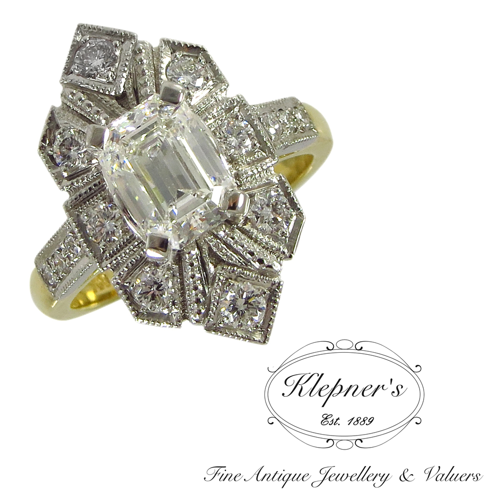 Art Deco platinum and 18ct yellow gold diamond inspired engagement ring, using clients central diamond