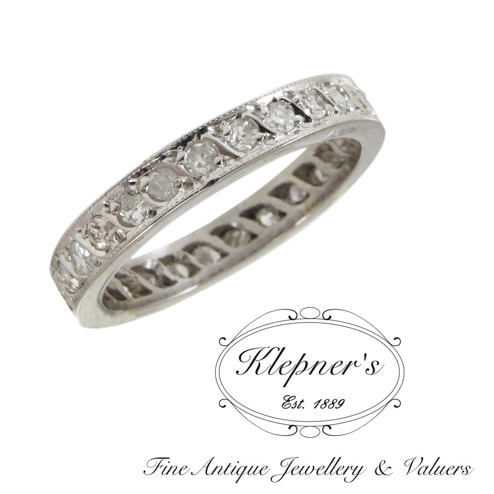 Vintage 18ct White Gold Old Cut Diamond Eternity Ring — Klepner s Fine A
