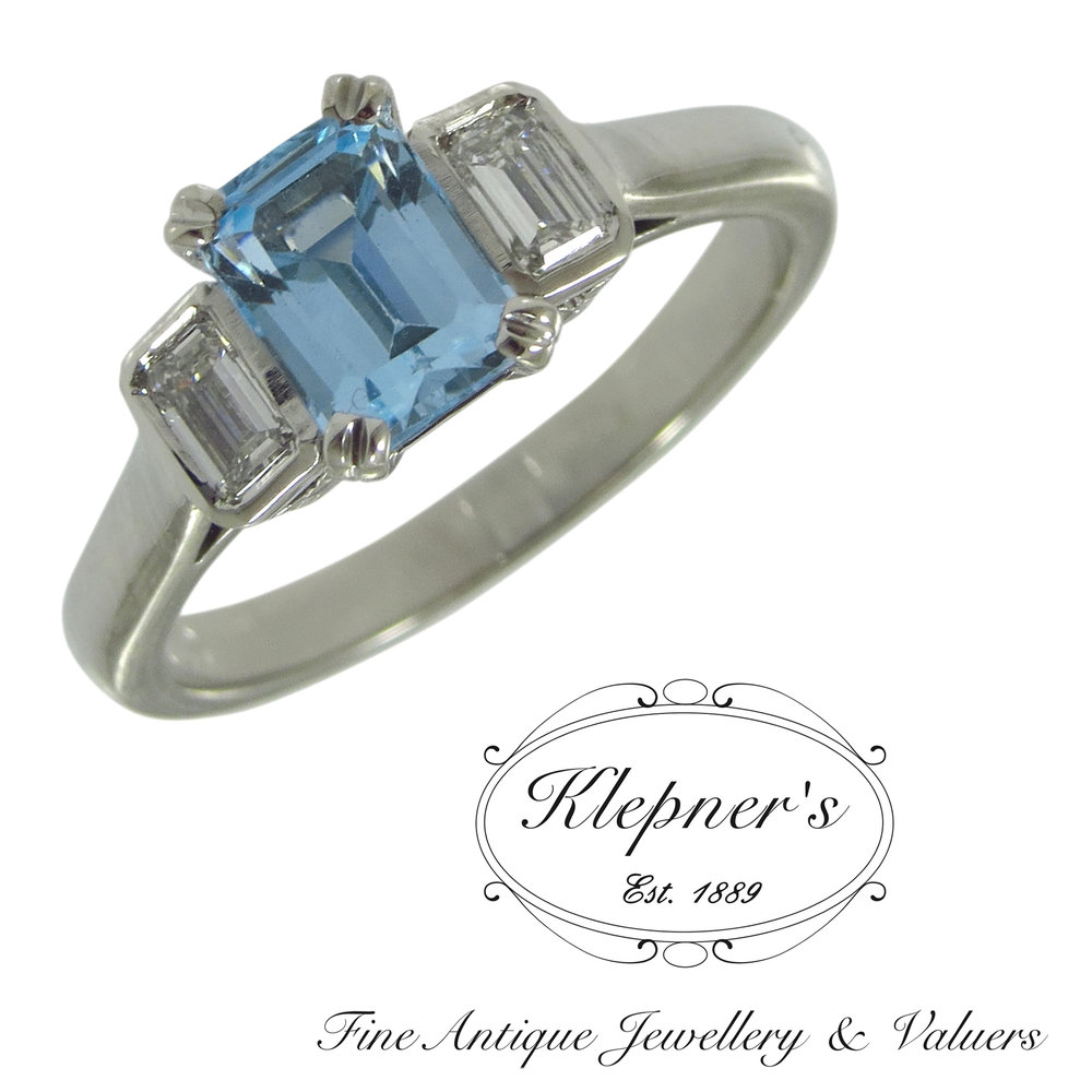 Aquamarine and diamond cocktail ring, using clients central aquamarine.