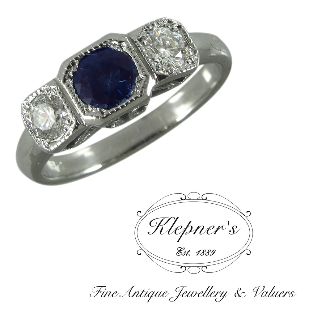 Art Deco inspired sapphire and diamond ring.