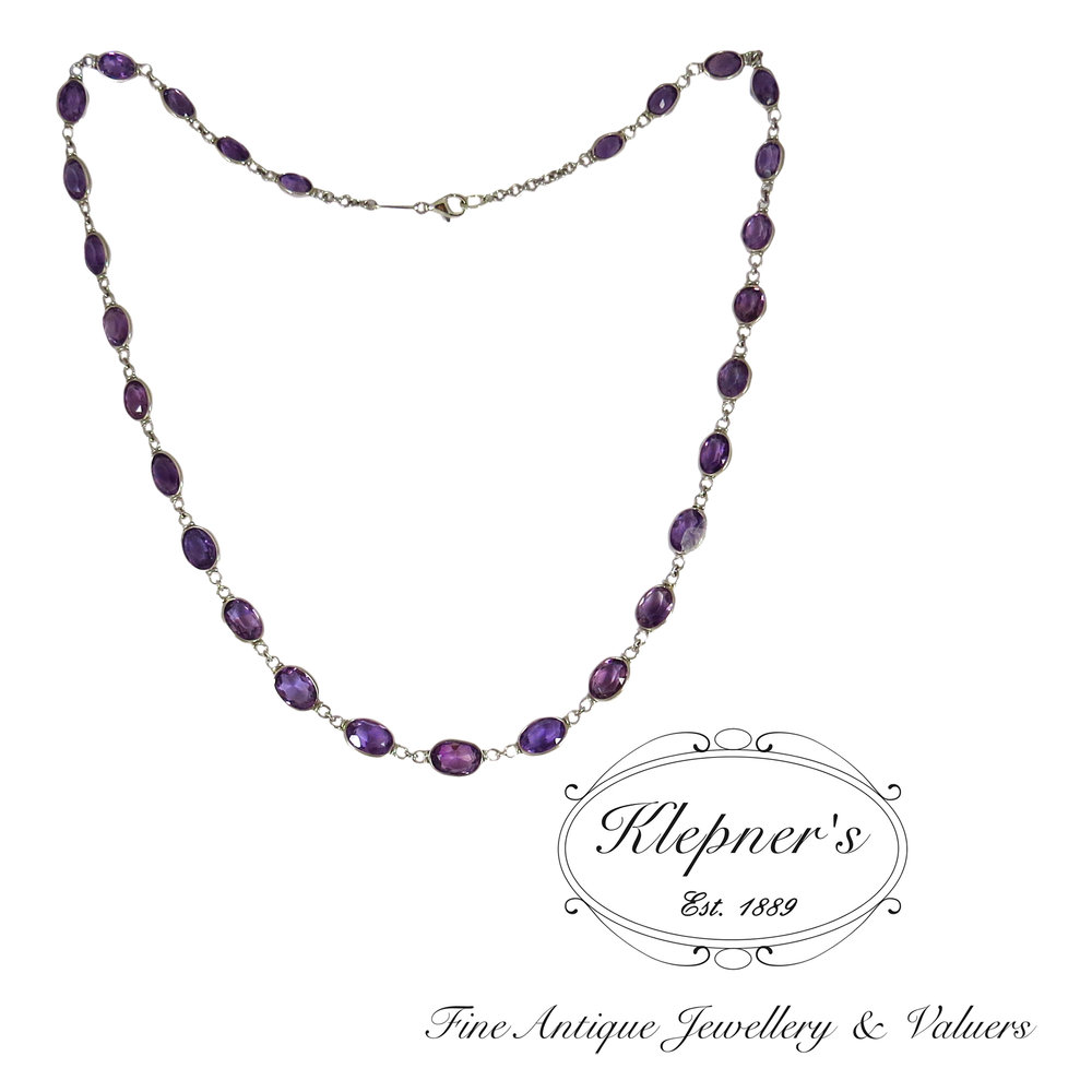 Amethyst necklace, supplied with clients round and oval cut amethysts.