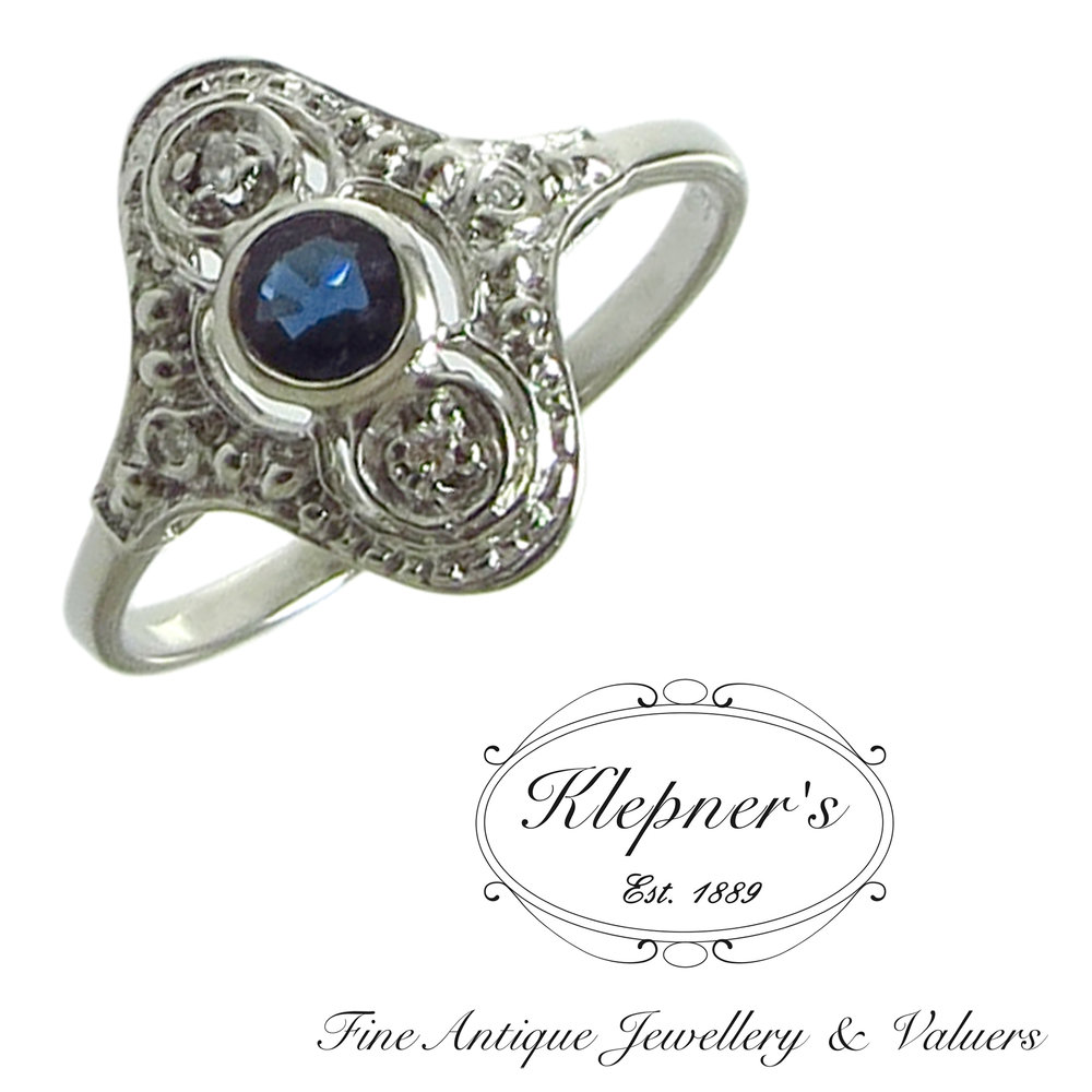 Australian sapphire & diamond Art Deco inspired engagement ring.