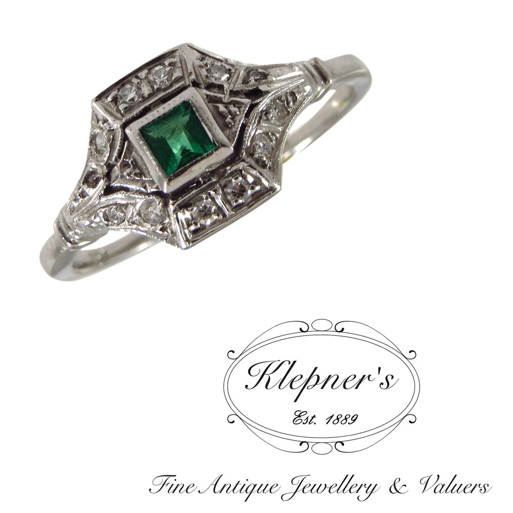 Emerald & diamond Art Deco inspired engagement ring.