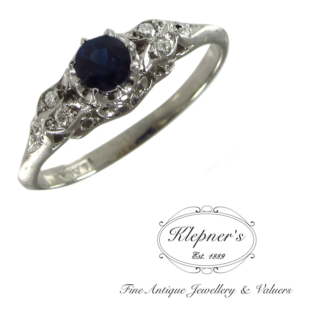 Australian sapphire & diamonds Vintage inspired engagement ring