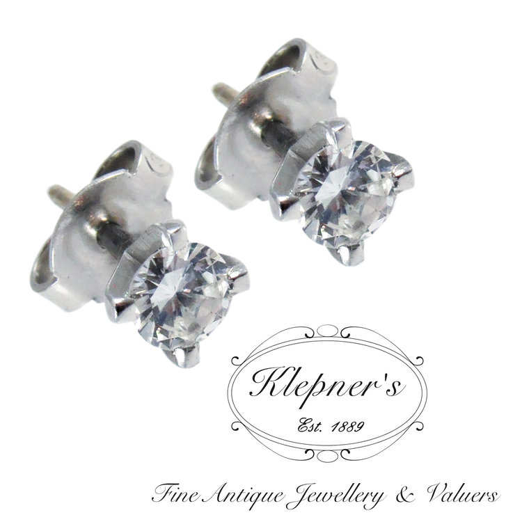 3d7858dff537e0 9ct White Gold Classic Diamond Stud Earrings With Threaded Posts —  Klepner's Fine Antique Jewellery & Valuers- Antique Engagement Rings