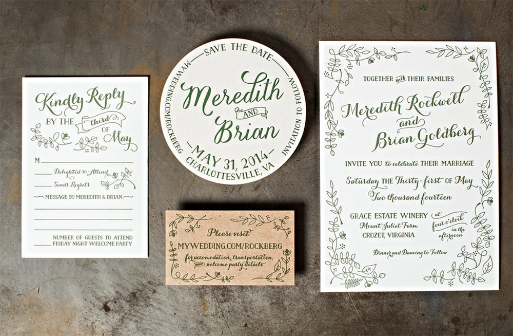 Letterpress Wedding Invitation Gallery — The Laughing Owl Press Co ...