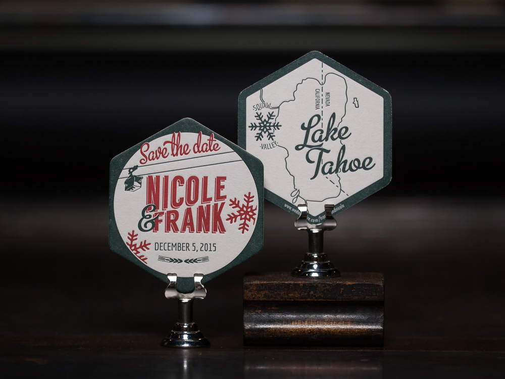 Customer:  Nicole & Frank  Artwork by:  The Laughing Owl Press Co.  Paper Stock:  80pt. coaster stock  Process:  2C Letterpress / 1C Letterpress  Press:  Chandler & Price